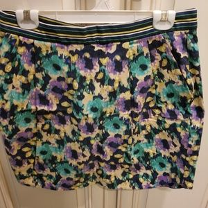 H&M multicolor floral mini skirt size 12 new